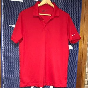 Nike Golf Dri fit Red Polo Size Large